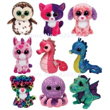 New Beanie Big Eyes Stuffed Animals Dog Owl Seahorse Unicorn Leopard Dragon Kids Plush Toys For Children Gifts 15CM(China)