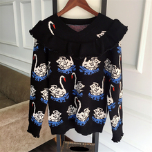 Women's Long Sleeve Cashmere Sweaters Pullovers Female Clothing Autumn Winter Warm Sweater Casual Jumpers Swan Print