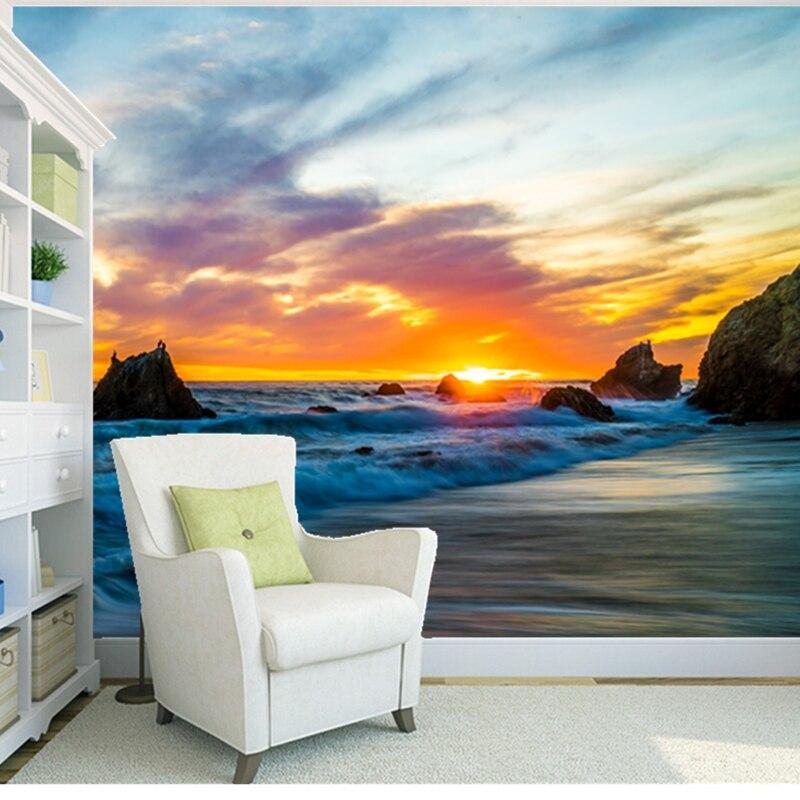 Custom natural landscape wallpaper, Sunrise Beach, 3D photo mural for the living room bedroom background wall PVC wallpaper<br>