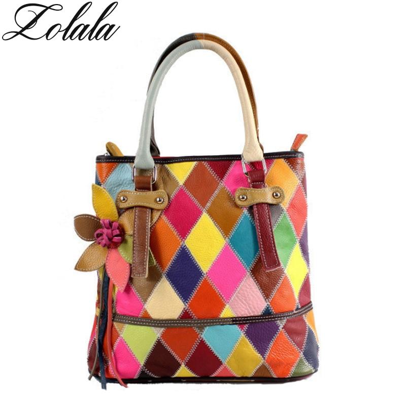 Zolala Patchwork Genuine Leather Women Handbag Fashion Shoulder Bag Cowhide Splice Women Bag fashion bags ladies luxury bags <br>