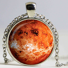 Free shipping Venus Pendant, Venus necklace, Silver Plated pendant, Venus Jewelry galaxy universe space planet, red, brown(China)