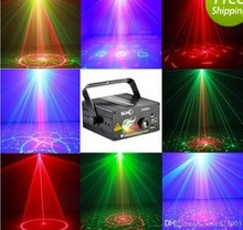 Upgraded ! Free Shipping 40 Gobos Remote Control Professional 3 Heads RG laser Blue LED Mini laser stage light mini party light(China)
