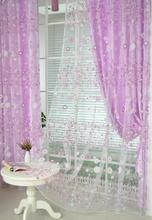 Roman curtains cafe style short doorcurtains tulle fabrics sheer panel modern curtains for kitchen flower window treatment voile(China)