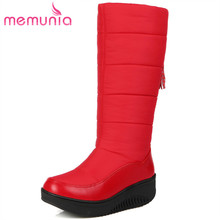 MEMUNIA Hot sale 눈 boots PU down women shoes keep warm mid calf boots fringe 겨울 boots 플랫폼 패션(China)