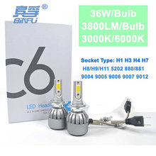 BINFU 72W COB H7 H1 H4 H3 H11 H8 9005 9006 9007 9012 880 C6 Bulb Headlamp Light Golden Car HeadLight Bulbs 3000K 6000K Led lamp(China)