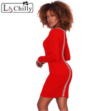 La Chilly Winter Round Neck Club Dresses 2018 Vestido Sexy Gold Details Pearl Embellished Red Black Mini Bodycon Dress LC220234(China)