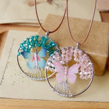 Vintage Handmade Healing Crystal Beads Wire Wind Butterfly Tree Of Life Pendant Sweater Leather Rope Necklace Women Jewelry