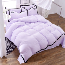Brief Duvet Cover Set Candy Color purple washable wrinkle Queen Bedding Sets Princess Blanket Cover Bed Linen roupa de cama(China)