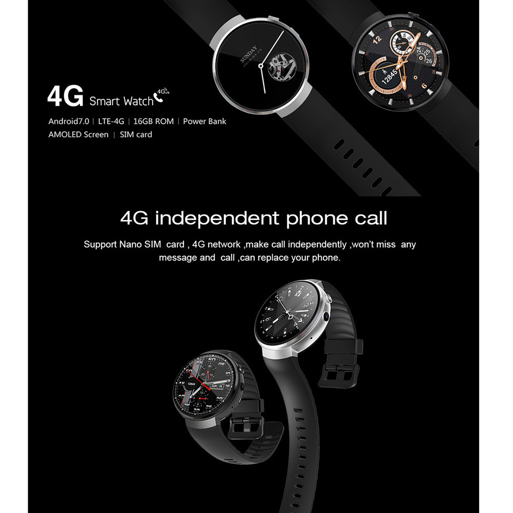 Z28 4G Smart Watch Android 7.0 1G ROM+16G RAM WIFI GPS 5MP Heart rate Sleeping monitor For iPhone Android Samsung Xiaomi 580mAh