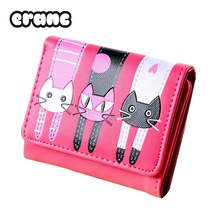 Women Cat Pattern Coin Purse Short Wallet Card Holders Hand bag Leather Mini Wallet(China)