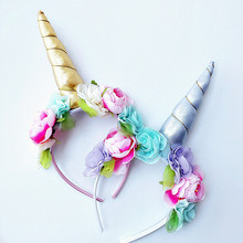 DIY Felt Ear Unicorn Headband Kids flower Unicorn Hairband Party Birthday Headwear Hair Accessories(China)