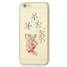 For iphone 6 soft TPU Case flowers Diamond 3d Bling jewelry Crystal Top Quality Phone cover for iphone 5 5s se 5c 6 6s 7 plus