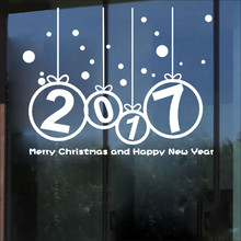New Year 2017 Merry Christmas Wall Sticker Home Shop Windows Decals Decor Removable wall stickers home decor free christmas