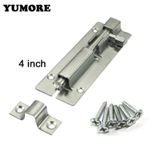 YUMORE 4Inch Lenght Stainless Steel Square Door Bolt Latch Gate Lock Safety For Locking Door(China)