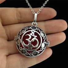 "GLOWCAT B0Q816 Glow In the Dark Fragrance Silver Copper Diffuser Round Om Ohm Yoga Locket Necklace 24"" Women Jewelry Party"