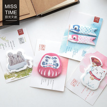 30 Sheets/pack Japanese Stationery Lucky Cat Kawaii Bookmarks Stickers Post it Memo Pad Sticky Notes Cute Stationery(China)