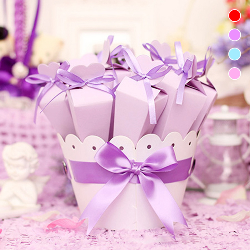 10Pcs/lot Cone Shape Wedding Candy Box Favor Box Wedding Basket Lovely Gifts Baby Shower Paper Gift Box Packaging K4(China)