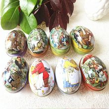 Bunny Chick Printing Alloy Metal Trinket Tin Easter Eggs Shaped Candy Box Tinplate Case Party Decoration Candy Party Accessory(China)