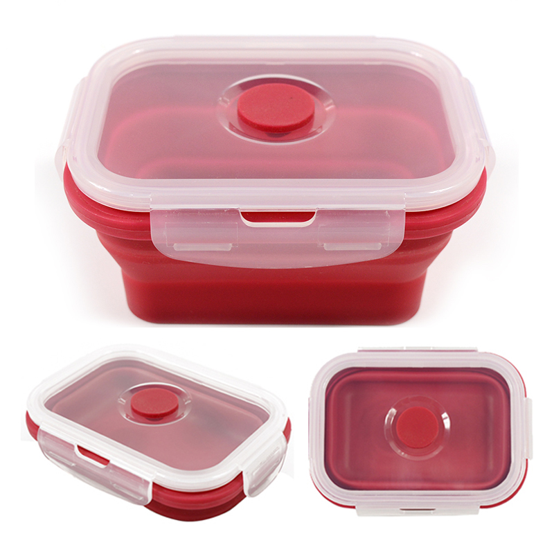Folding Silicone Lunch Box Food Storage Container Kitchen Microwave Tableware Portable Household Outdoor Food Fruit Organizer 3