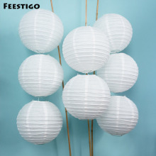10PCS 10inch(25cm) Decorative White Paper Round Sky Hanging Lanterns Wedding Party Home Garden Decor Event Celebration DIY Kits(China)