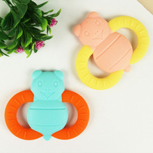 NEW Baby Teethers Silicone Toy kids Rattles child Animal Bee Silicone Teether Training Toddler infant beads lovely 1pcs(China)