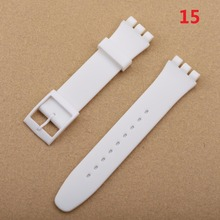 White & Half Transparent Colors Silicone Watch Band Strap For SWATCH 17mm 19mm 20mm Men Women
