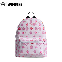 Epiphqny Sweet Candy Pink Backpacks Fruit Cartoon Backpack for School Cute Food Printing Bags Ice Cream Mori Girl 2 Colors(China)