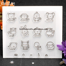 Lovely Animal Cat Mouse Pig Sheep Scrapbook DIY photo cards account rubber stamp clear stamp transparent stamp 11x12cm 7082210
