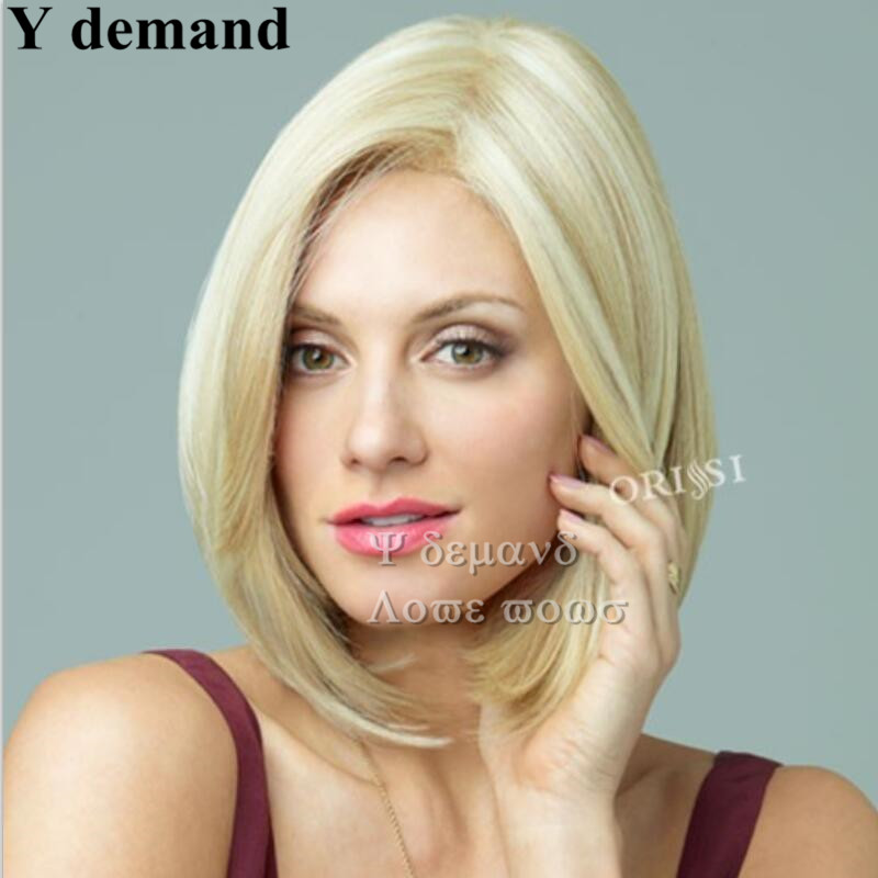 HOT sell Bobo Wigs White Women European Straight Synthetic Kanekalon Black Women U Part Wig Natural Short Blonde Wig<br><br>Aliexpress