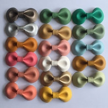 5 Pcs/ Lot Small Handmade Bow Hairgrips Sweet Girls Solid bow leather Whole Wrapped Safety Hair Clips Kids Hairpins Gifts(China)