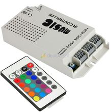 DC12V 5A Music Audio Sound 3 Ports RGB LED Controller With 24Key IR Remote for RGB Strip Light Freeshipping