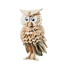 DIY Owl 3D Puzzle Wooden Toys Wooden Puzzle 3D Jigsaw Woodcraft Handmade Educational Toys For Children Adults Birthday Gifts(China)