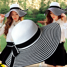 HT004 New 2017 Fashion Packable Sun Paper Straw Hat for Women Summer Beach Cap Striped Bow Ribbon Hats Ladies Summer Floppy Hat(China)