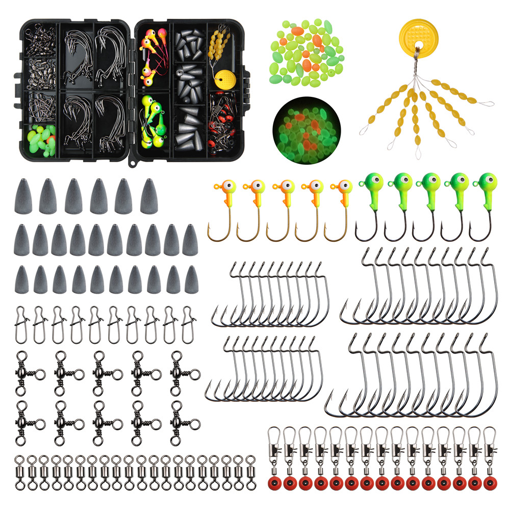 175pcs Fishing Tackle Box Kit Including jig Fishing Hooks jig Head Hooks swivels snaps lead Sinker for Texas rig fishing tackle title=
