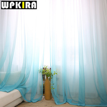 1PCS American Solid Sheer Blue Voile Curtain Modern Gradient Grey Curtains Tulle Fabric Window Curtain Panels White Curtain 30(China)