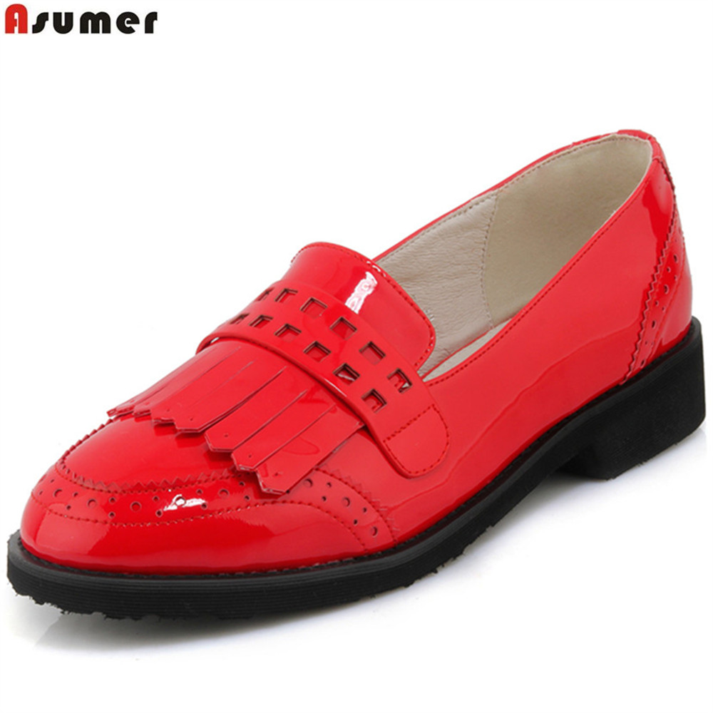 ASUMER red black fashion spring autumn shoes woman round toe shallow casual square heel patent leather women low heels shoes<br>