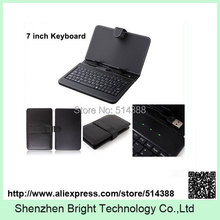 Promotion cheap USB 7 inch Keyboard Leather Case Protective Cover for 7 inch Tablet PC Epad Apad 10pcs/lot(China)