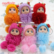 100pcs/lot Mixed Colors Dolls Keychain Cute Girl Keyring Toys Keyring Pendants For Handbag Mobile Phone Straps Cell Phone(China)