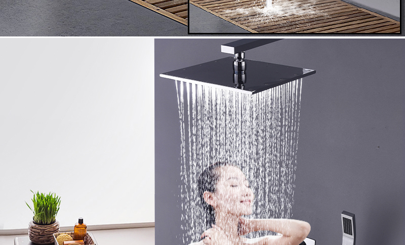 10'' Thermostatic Shower Systems Mixer Valve Set Install The Box Mixing Valve Handheld Bathroom Fold The Faucet Bath Shower Set (11)