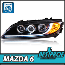 UNION Car Styling for Mazda 6 Headlights 2004-2013 Mazda6 LED Headlight Angel Eye DRL Bi Xenon Lens High Low Beam Parking