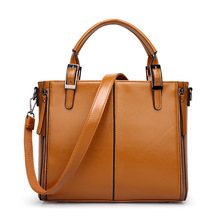 2017 Brown Leather Bags Women Handbag Cheap Import Wax Pu Leather Ladies Shoulder Bag Ol Laptop Bag Document(China)