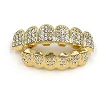 Золотые зубы grillz топ на зуб шапки гриль набор хип-хоп bling ювелирные изделия #232055(China)