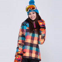 NEW Double plate Snowboard clothing ladies Korean style new waterproof windproof Plaid ski suit super thick warm ski jacket