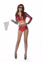 Womens Sexy Fashion Race Car Driver Role Play Costume Black Red Short Shirt+Plaid Shorts Racing Suits Cosplay