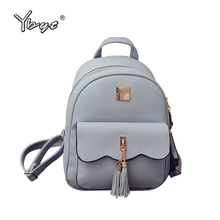 YBYT brand 2017 new PU leather tassel women rucksack ladies high quality stylish backpacks joker simple student school backpack