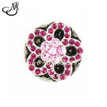 12pcs /lot Antique Silver Metal Snaps Pink&Rose Red Rhinestone Flower Snap Button For 18mm Interchangeable Jewelry Charms SB2477