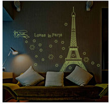 Eiffel Tower glow in night paris city building wall stickers bedroom decor 9604. adesivos de paredes home decals mural art 3.5(China)