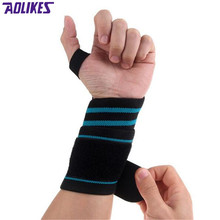 Hot Sale Adjustable Elastic Weight Lifting Wristbands Silicon Breathable Sport Wrist Support Fitness Bandage Hand Protective(China)