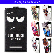 Factory price Fashion Patterns Cartoon Luxury Flip up and down PU Leather Case for Fly FS406 Stratus 5,Free gift(China)