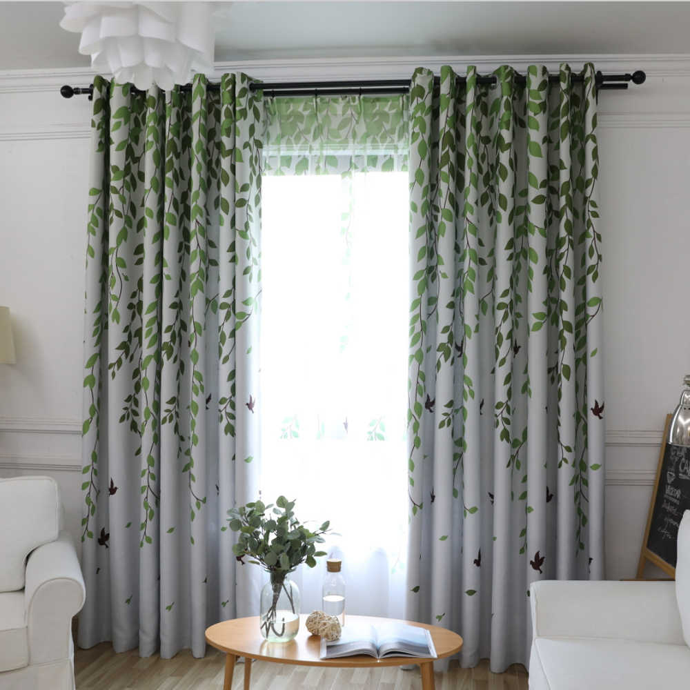 Modern Green Leaves Swallow Design Sheer Curtain Tulle Finished Blackout Curtains For Living Room Bedroom Home Decoration WP2073